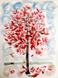 Tree in Woodhouse, watercolour painting by Jo Dunn, 2018