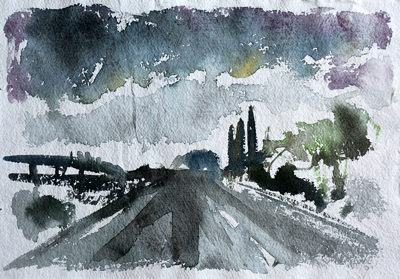 View from the M5, watercolour painting by Jo Dunn