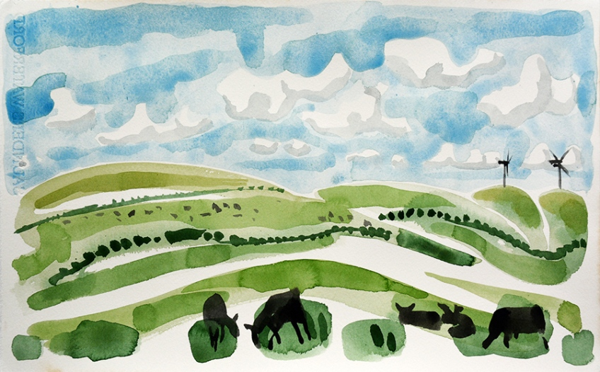 Zwartbles and Wind Turbines, Galloway - painting by Jo Dunn