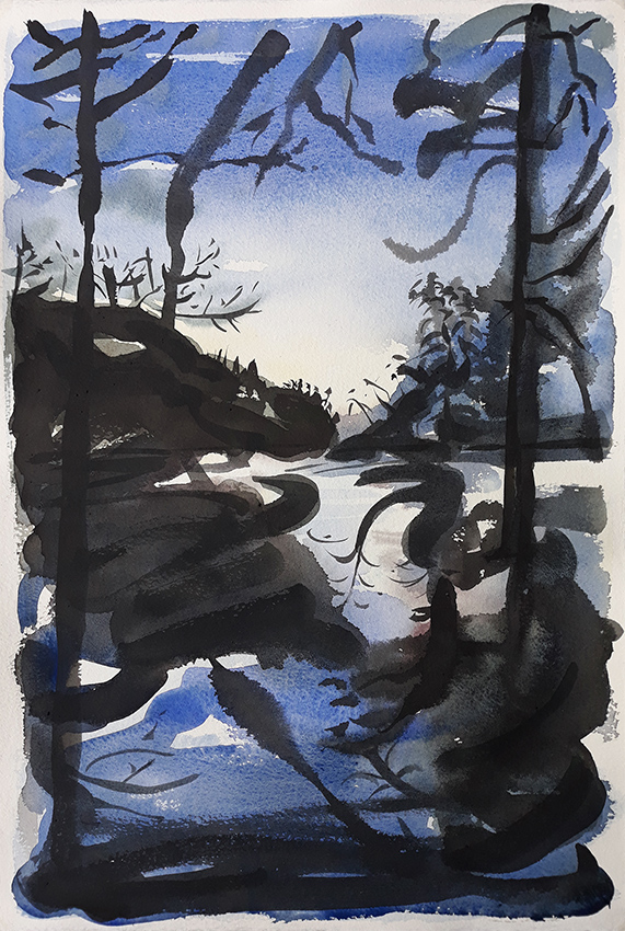 Waterloo Lake I, View from the North End - watercolour by Jo Dunn 2019