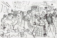 Sunday Night is Quiz Night (Seven Bar, LS7) - pencil drawing by Jo Dunn 2019