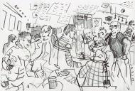 Sunday Night is Quiz Night (Seven Bar, LS7) - pencil drawing by Jo Dunn 2019