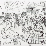 unday Night is Quiz Night at Seven Bar - drawing by Jo Dunn 2019