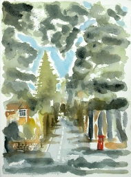 43 Gledhow Wood Road, watercolour painting by Jo Dunn, 2013
