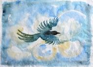 Bird, watercolour painting by Jo Dunn, 2018