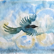 Bird, watercolour painting by Jo Dunn, 2018