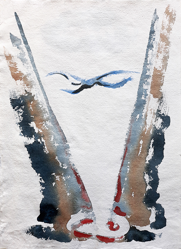 Bird Over Lake, watercolour painting by Jo Dunn 2018