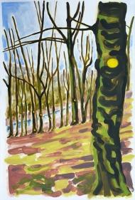 Combat Tree, oil paint on gesso'd paper by Jo Dunn 2015