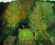 Fox in the Garden, oil painting by Jo Dunn 2012