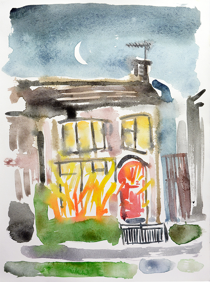 House Fire I - watercolour painting by Jo Dunn, 2019