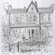 House Portrait, Oakwood, Leeds - pencil drawing by Jo Dunn, 2019