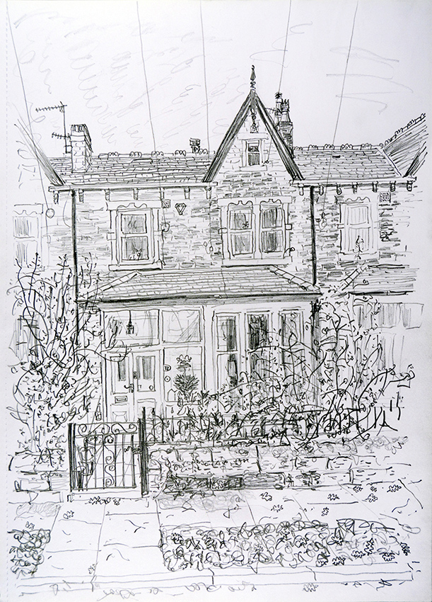 House Portrait, Oakwood, Leeds - pencil drawing by Jo Dunn, 2019