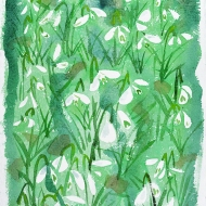 Snowdrops (Spring V), watercolour painting by Jo Dunn 2017