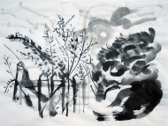 The Low Sun, Chinese ink on rice paper. by Jo Dunn 2014