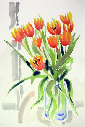 Tulips II, watercolour painting by Jo Dunn, 2019