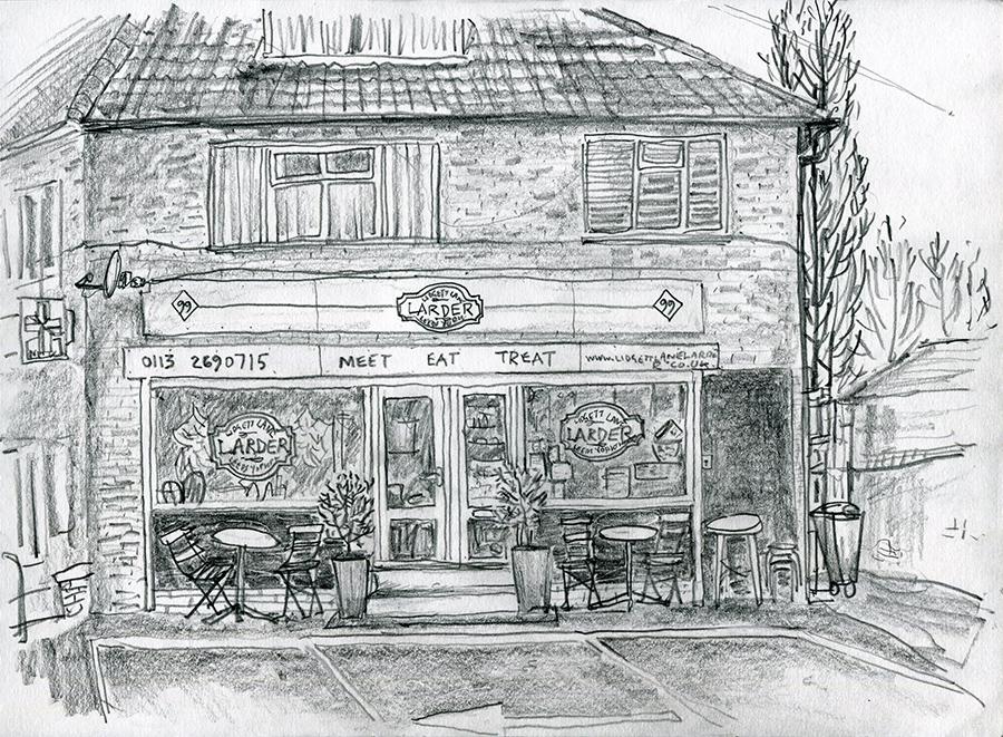 Lidgett Lane Larder, LS8 1QR - pencil drawing by Jo Dunn 2019