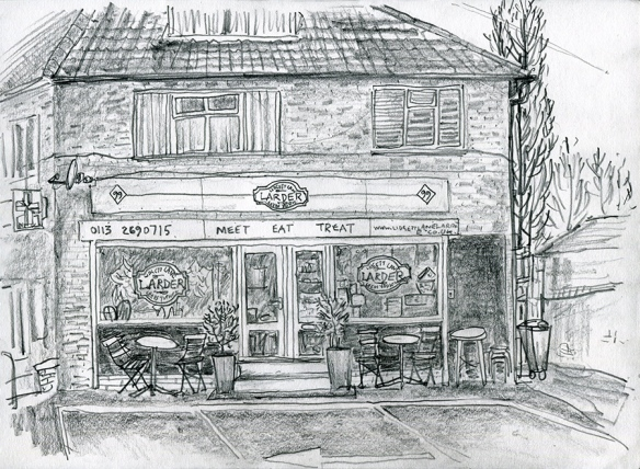 Lidgett Lane Larder, LS8 1QR - pencil drawing by Jo Dunn 2019