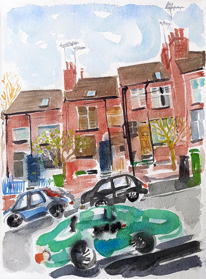 My Street II, watercolour by Jo Dunn 2019