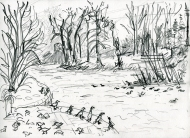 River Wharfe at Wetherby, pencil drawing by Jo Dunn