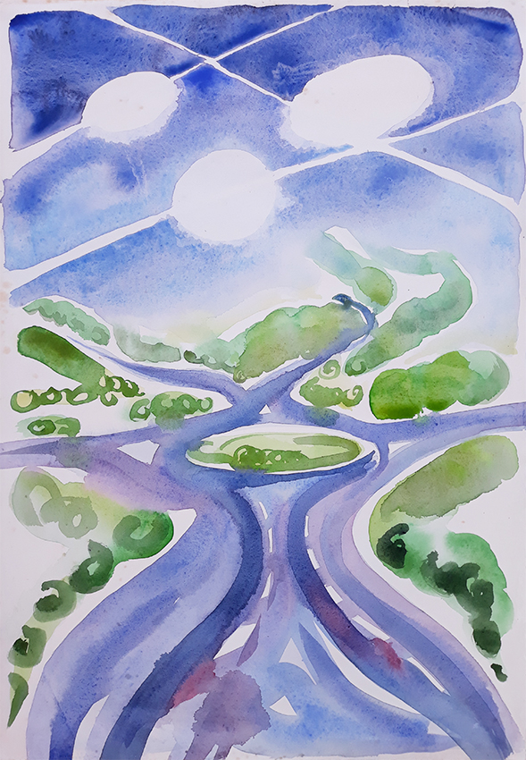 Roundabout A61-A658 watercolour painting by Jo Dunn 2019