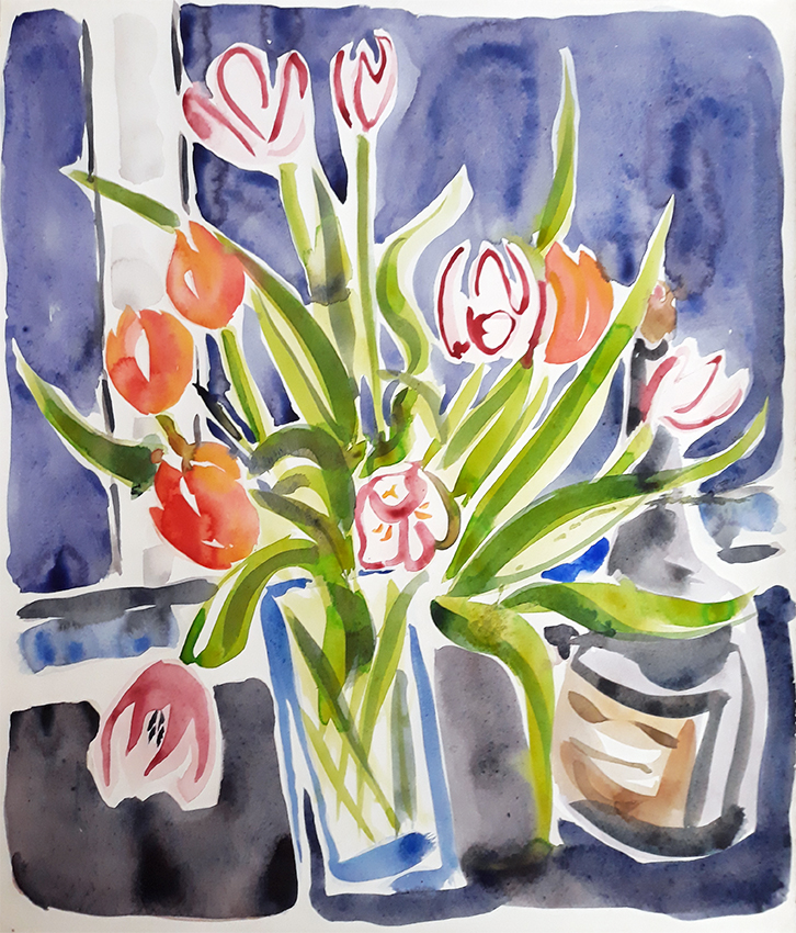 Still Life with Tulips - watercolour painting by Jo Dunn 2019