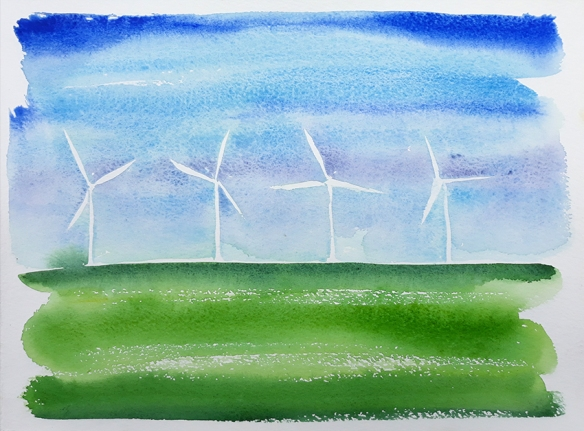 Wind Turbines, watercolour painting by Jo Dunn 2019