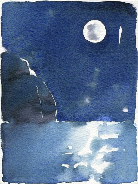 Moon, watercolour painting by Jo Dunn, 1986