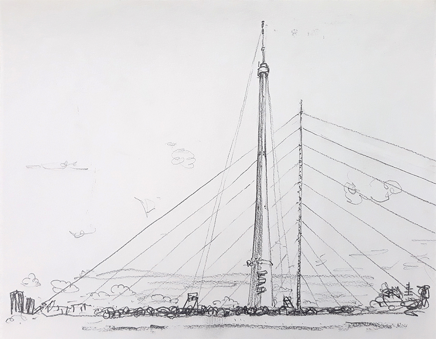 Emley Moor Mast and Temporary Transmitters pencil drawing 2019
