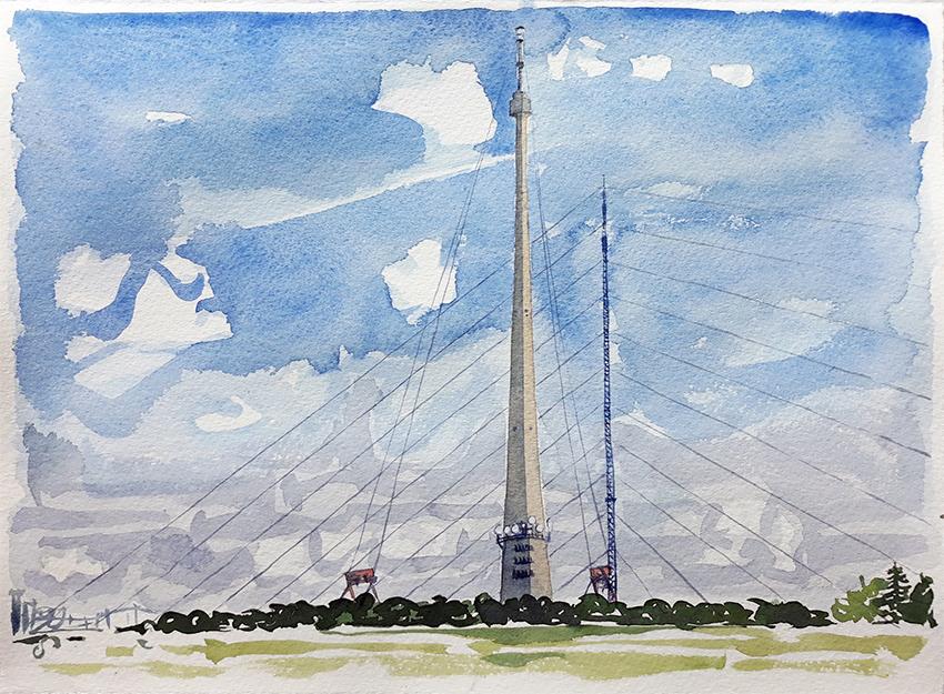 Emley Moor Mast and Termporary Transmitter