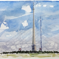 Emley Moor Mast and Termporary Transmitter - watercolour painting by Jo Dunn 2019