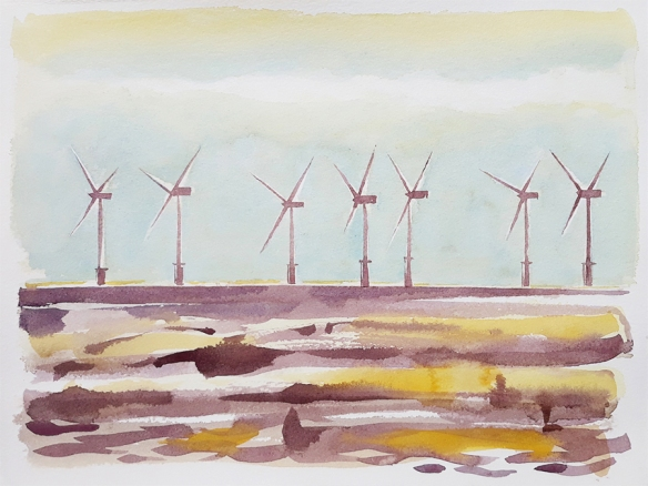 Burbo Bank Wind Farm II, watercolour painting by Jo Dunn