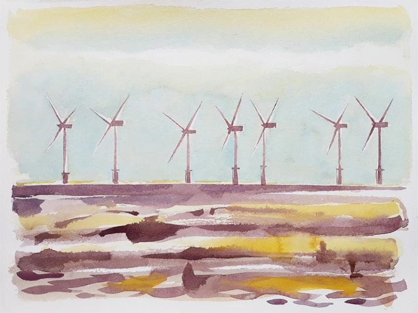 Burbo Bank Wind Farm II, watercolour painting by Jo Dunn