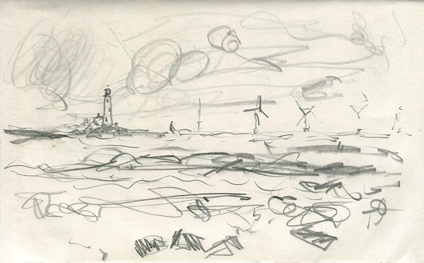 Jo Dunn Whitley Bay II pencil drawing 2019