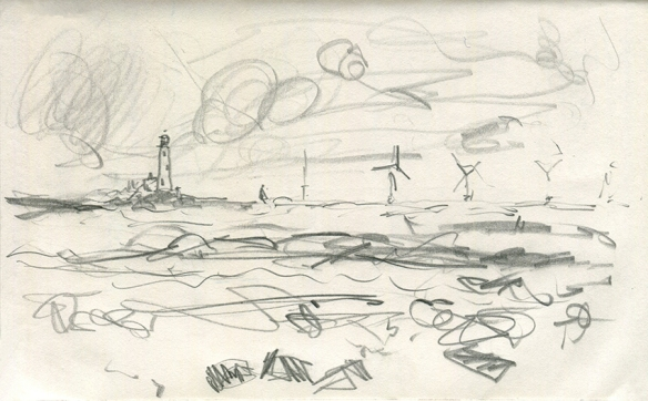 Jo Dunn Whitley Bay II pencil drawing 2019