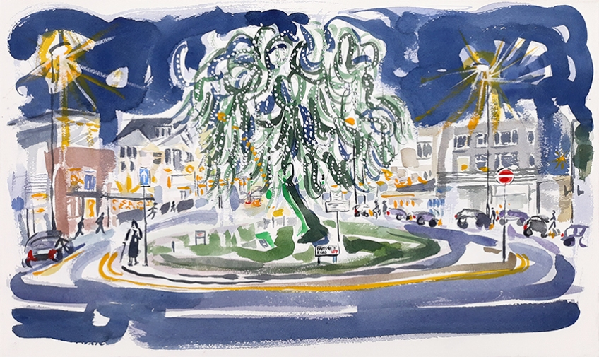 Chapel Allerton at Night - watercolour painting by Jo Dunn 2020