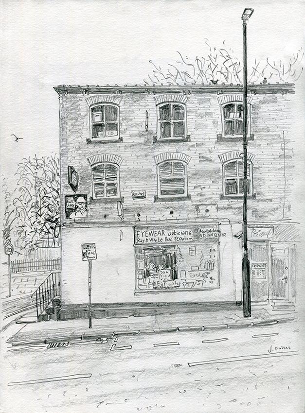 Eyewear Opticians, Chapel Allerton - pencil drawing by Jo Dunn 2020