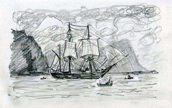 HMS Beagle - pencil drawing by Jo Dunn 2020