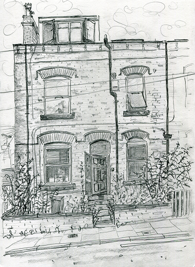 House Portrait #45 - pencil drawing by Jo Dunn 2019