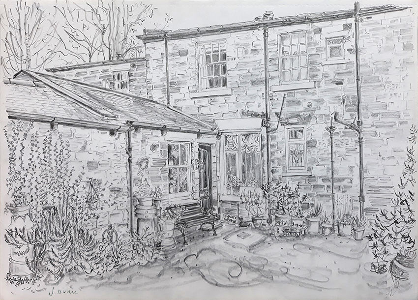 House Portrait #58 i - pencil drawing by Jo Dunn 2020