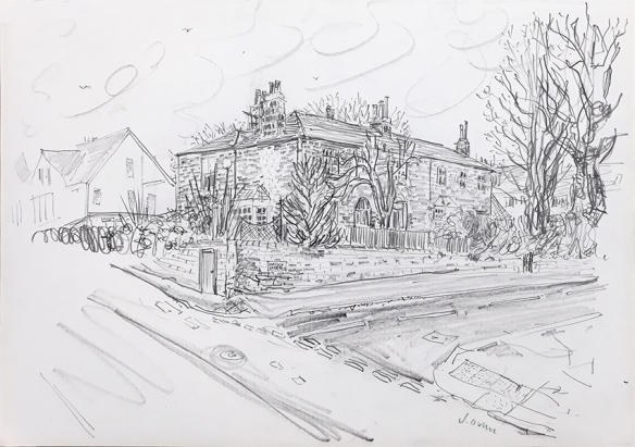 House Portrait #58 ii - pencil drawing by Jo Dunn 2020