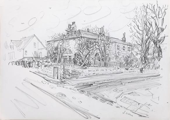 House Portrait #58 ii - pencil drawing by Jo Dunn 2020