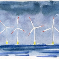 North Sea Wind Turbines - watercolour painting by Jo Dunn 2019