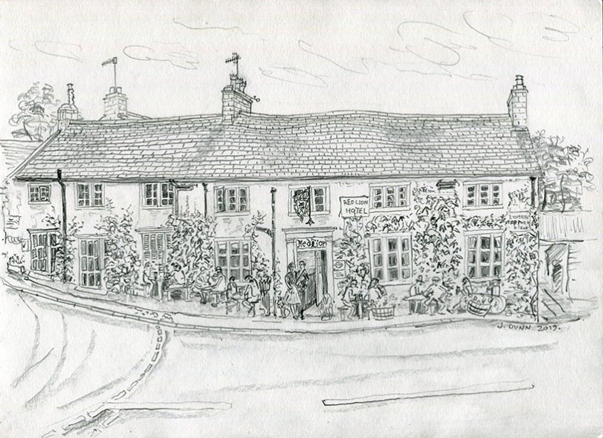 The Red Lion, Burnsall - pencil drawing by Jo Dunn 2019