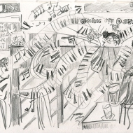 Ric Neale at Seven Arts, 08-01-2020 - pencil drawing by Jo Dunn 2020