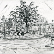 Roundabout Ring Road A6110/Royds Lane, LS12 - pencil drawing by Jo Dunn 2019