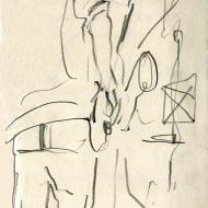 Rod Mason, Rush Hour Jazz V, 20-11-2019 - pencil drawing by Jo Dunn 2019