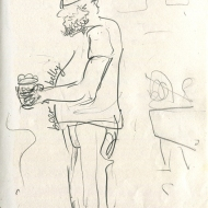 Stefan at Seven Bar, Sunday, 20-10-2019 - pencil drawing by Jo Dunn 2019