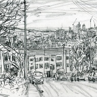 View from Roxholme Grove, LS7 - pencil drawing by Jo Dunn 2019