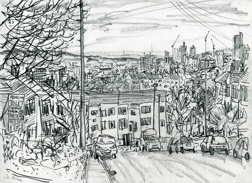 View from Roxholme Grove - pencil drawing by Jo Dunn 2019
