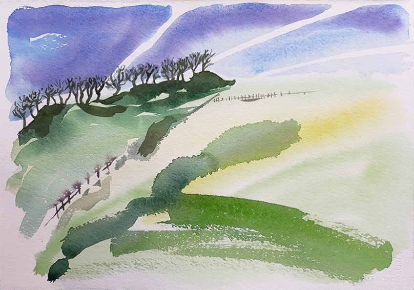 View from the A58 - watercolour painting by Jo Dunn 2019
